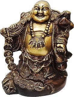 Brass Gift Center laughing Buddha Statue Showpiece - 26 cm (Brass Yellow Brown)