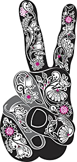 Peace Hand Sign with Flower Henna Vinyl Decal Sticker (4