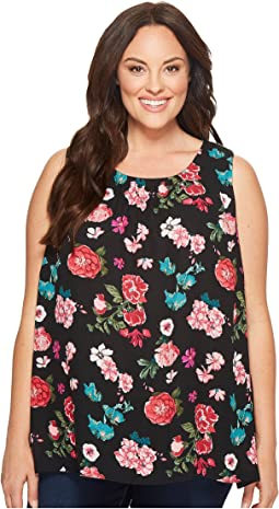 Vince Camuto Specialty Size - Plus Size Sleeveless Floral Heirlooms Blouse