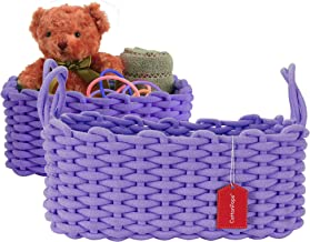 "CottonPops Woven Rope Storage Bin Basket Set of 2-14""x10""x6"" and 12""x8""x5"" - Soft Basket Square Shape Shelf Bin With Decor..."