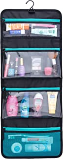 Sea-Breeze Hanging Toiletry Bag: Organize Your Toiletries / Cosmetics Into 4 Pockets (3 Waterproof and 1 Mesh). Save Time and Space. Pack it Fold it Click the Buckle and Enjoy Your Travel!