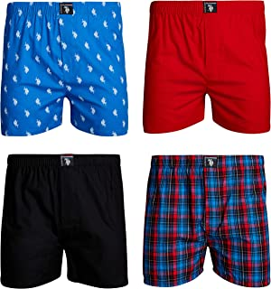 U.S. Polo Assn. Men's Woven Boxer Underwear with...