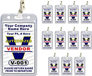 Vendor Pass ID Badge Set (12 pcs) - PVC Plastic {Custom Printed with Your Company Name} 12 pcs - Badge Holders & Clips Included - Made in The USA