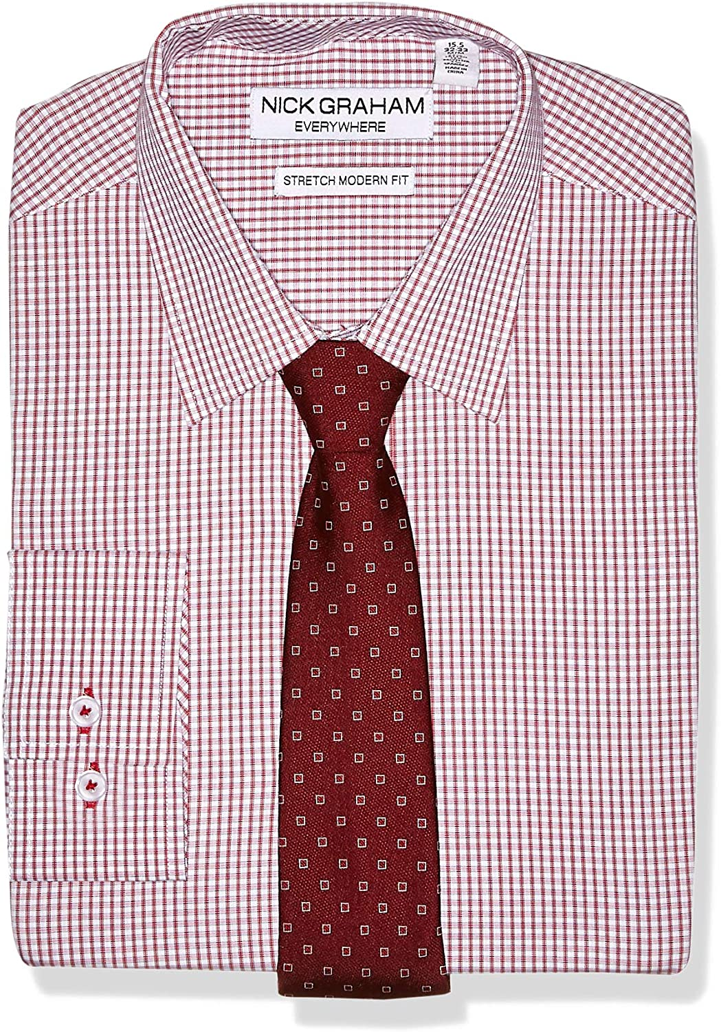 Nick Graham Men's Stretch Modern Fit Dress and New popularity Plaid Shirt NEW before selling ☆ Dot T