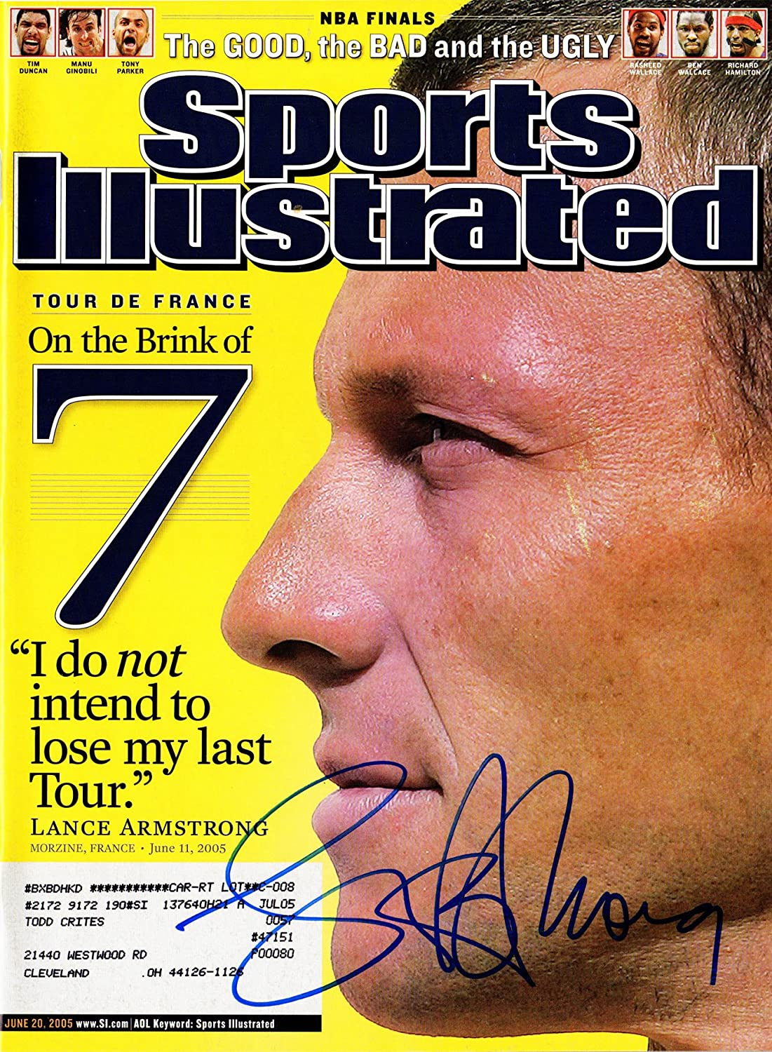 Lance Armstrong June 20, 2005 'On The Brink Of 7' Original Sports Illustrated Magazine