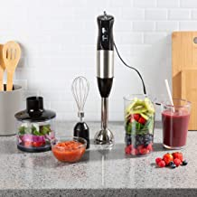 Classic Cuisine 82-KIT1120 Immersion Blender-4-In-1 6 Speed Hand Mixer Set Whisk Food Processor Cup, 32oz. Beaker, For Soup, Milkshakes, Salsa, and More