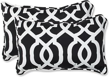 "Pillow Perfect Outdoor/Indoor New Geo Lumbar Pillows, 11.5"" x 18.5"", Black/White, 2 Pack"