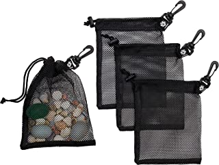 Mesh Drawstring Bag With Carabiner Clip - Set of 4 (6 x 8 inch)