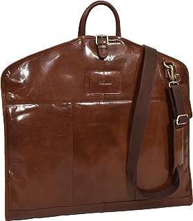 Luxury Leather Suit Carrier Slimline Travel Garment Dress Bag Keswich Chestnut Tan