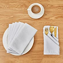 Deconovo Soft Jacquard Damask Dinner White Cloth Napkins with Geometric Patterns 18 x 18 inch Stain and Spillproof Smooth Luxury Serviette for Banquets, Weddings, Family Gatherings Set of 6