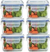 JN-STORE Plastic Air Tight Square Storage Box/Cereal Dispenser Jar, 400ml, 20x120x70mm(Transparent) - Set of 6