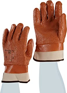 Ansell Winter Monkey Grip Jersey Glove, Vinyl Coating, Safety Cuff, X-Large (Pack of 12 Pairs)
