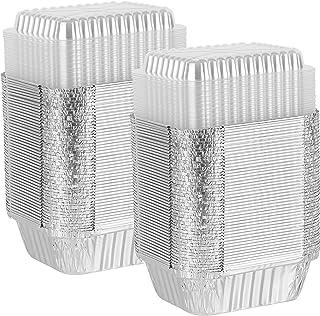 PARTY BARGAINS 100 Pack Disposable Oblong Aluminum Foil Pans 1 Lb Capacity Steam Table Pan Containers with Plastic Lids | ...
