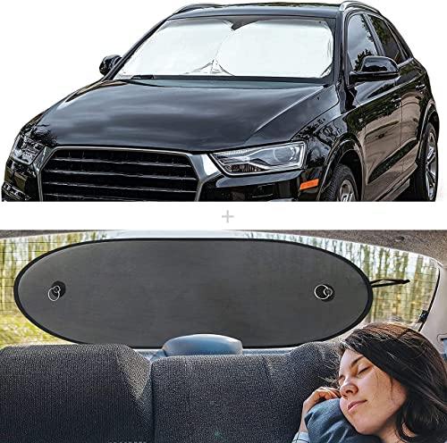 wholesale EcoNour Gift Bundle | Car Windshield online Sun popular Shade (Classic 59 x 29 Inches) + Car Rear Windshield Sunshade (Large 39 x 17 Inches) | UV & Sun Glare Protection | Complete Coverage for Rear Window sale
