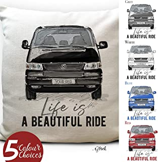 Personalised Camper van Transporter T5 Cushion Cover Gift - 5 Colours - Number Plate - 16 inch