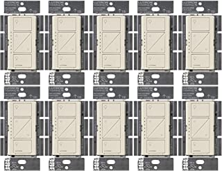 Lutron Caseta Wireless Smart Dimmer Switch for Wall & Ceiling, PD-6WCL-LA, Light Almond, 10-Pack
