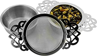 Solstice Empress Tea Strainers with Drip Bowls (2-Pack); Elegant Stainless Steel Loose Leaf Tea Strainers