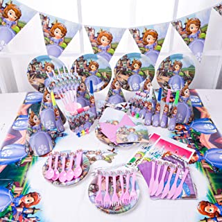90pcs Set Sofia The First Theme Party Disposable Tableware Set Decoration Supplies Christmas Table Cloth Set for Kids Favo...