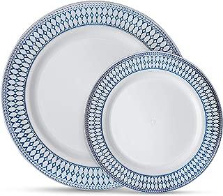 Laura Stein Designer Dinnerware Set of 64 Premium Plasic Wedding/Party Plates: White, Blue Rim, Silver Accents. Set Includes 32 10.75