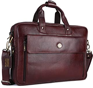 HAMMONDS FLYCATCHER Handmade Briefcase Top Grain Leather Laptop Bag Messenger Shoulder Bag for Business Office 15.6 inch Laptop Coffee Brown