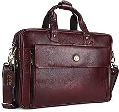 HAMMONDS FLYCATCHER Handmade Briefcase Top Grain Leather Laptop Bag Messenger Shoulder Bag for Business Office 15.6 inch Laptop Coffee Brown