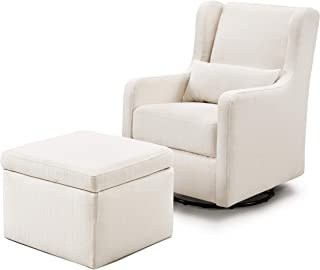 Carter's by Davinci Adrian Swivel Glider with Storage Ottoman in Cream Linen | Water Repellent and Stain Resistant Fabric