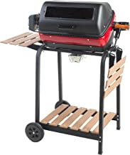 Americana Electric Cart Grill with two folding side tables, shelf and rotisserie