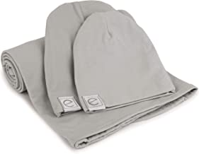 Cotton Knit Jersey Swaddle Blanket and 2 Beanie Baby Hats Gift Set, Large Receiving Blanket by Ely's & Co (Grey)
