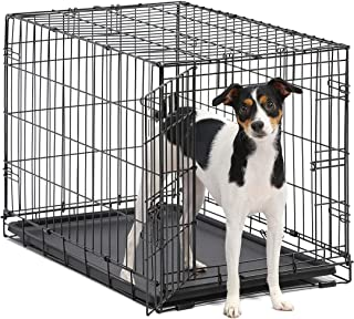 Dog Crate | MidWest ICrate 30 Inch Folding Metal Dog Crate w/Divider Panel,| Medium Dog, Black