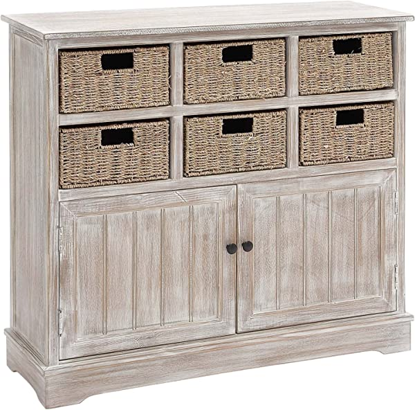 Deco 79 96296 Wood 6 Basket Dresser 38 X 35