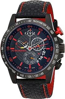 GV2 by Gevril Scuderia Mens Chronograph Swiss Quartz Alarm GMT Black Leather Strap Sports Racing Watch, (Model: 9903)