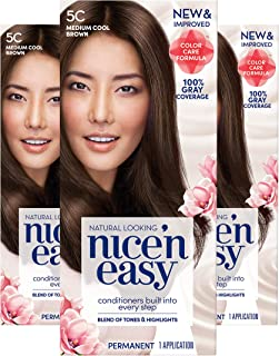 Clairol Nice 'n Easy Permanent Hair Color, 5C Medium Cool Brown, Pack of 3 Allergy Gentle Single-Step Hair Dye, Conditioners, Natural-Looking Color, Salon Highlights, Grey Coverage