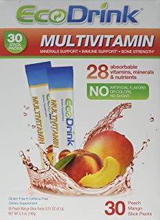 EcoDrink Complete Multivitamin Mix Drink. Peach Mango - 30 Count Refill Pack (Bottle not included)
