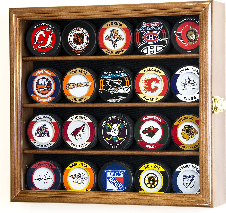 20 Hockey Puck Display Case Cabinet Holder Wall Rack 98% UV ...