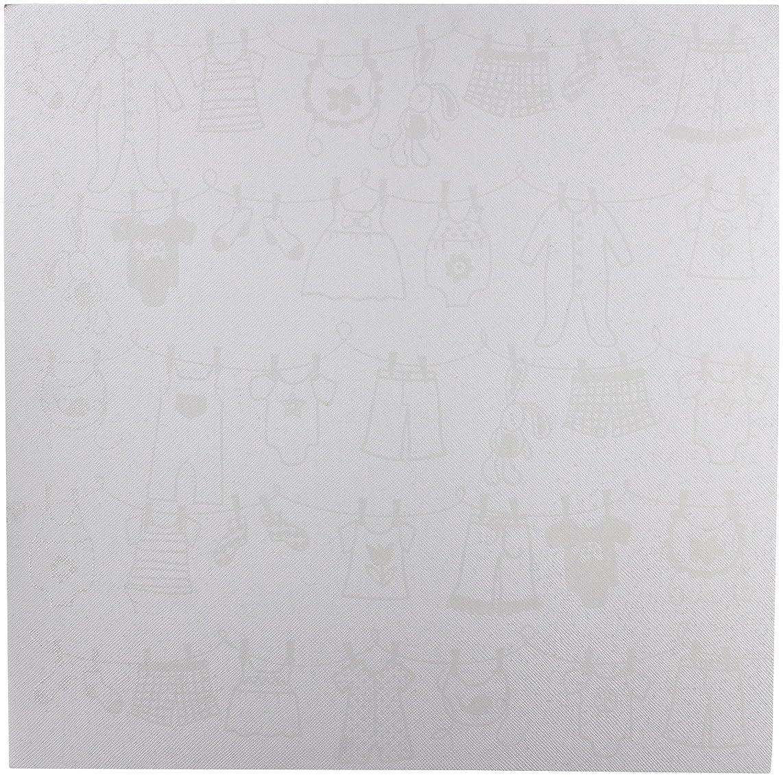 Bazzill Basics Glazed 12x12 Cardstock 15-Pack: Baby Clothesline Lily White