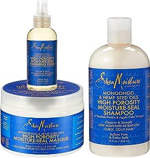 Shea Moisture Mongongo & Hemp Seed Oils Set | High Porosity Moisture-Seal Shampoo 13 Oz, High Porosity Moisture-Seal Masque 12 Oz & High Porosity Moisture-Seal Finishing Elixir 4 Oz
