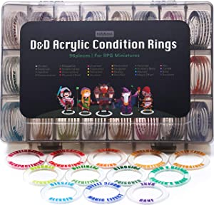 Tidyboss DND Miniatures Acrylic Condition Rings 96 PCS Status Effects Markers in 24 Conditions & Colors for Dungeon and Dragons Game Accessories for RPG Tabletop Gaming with Storage Box
