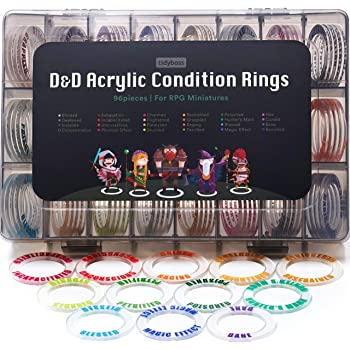 Tidyboss DND Miniatures Acrylic Condition Rings 96 PCS Status Effects Markers in 24 Conditions & Colors for Dungeon and Dragon Game Accessories for RPG Tabletop Gaming with Storage Box