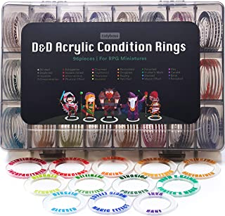 Tidyboss DND Miniatures Acrylic Condition Rings 96 PCS Status Effects Markers in 24 Conditions & Colors for Dungeon and Dr...