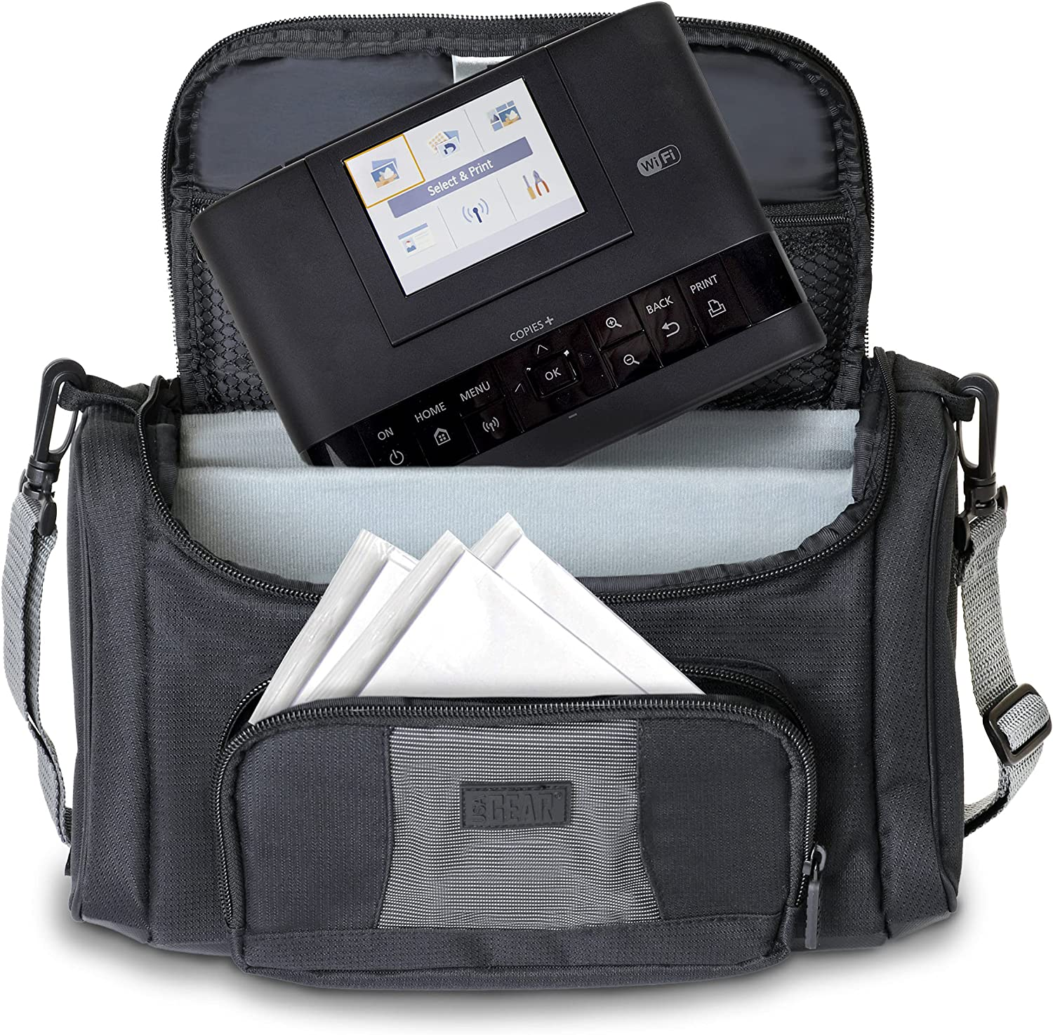 USA Gear Portable Photo Printer Case - Portable Printer Bag with Accessory Pockets, Adjustable Dividers, & Shoulder Strap - Compatible with Canon Selphy CP1200 Wireless Color Photo Printer - Black