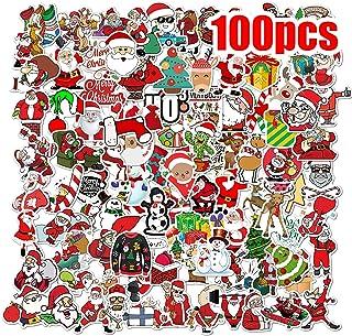 100PCS Christmas Stickers, Cartoon Stickers, Merry Christmas Decorations Santa Snowflake Stickers for Kids, Waterproof Dec...