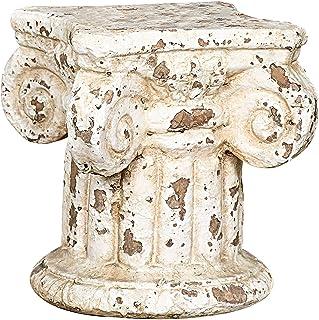 Creative Co-Op Distressed Terracotta Column Pedestal 7 in. H x 6.25 in. W x 6.25 in. D Cream 1 Piece