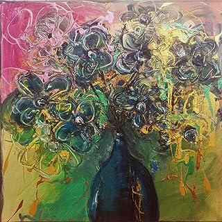 """Pintura Abstracta Lienzo al Óleo Arte Moderno """"FLORES AZULES"""" por DOBOS, Cuadro para Decoración del Hogar, sala de estar, ..."""