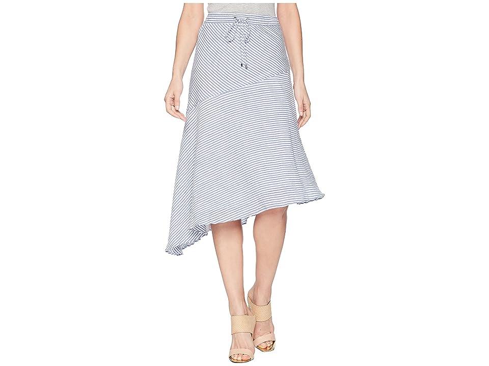 LAUREN Ralph Lauren Asymmetrical Cotton Midi Skirt (Blue/White) Women