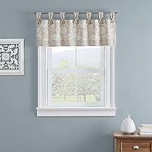 """WAVERLY استنسل كرمة قصيرة ستارة نافذة صغيرة ستائر حمام، غرفة المعيشة والمطابخ، 52"""" x 18""""، كتان"""