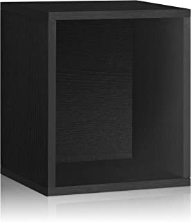 Way Basics 11.2 x 13.4 x 15.5 Eco Stackable Storage Cube Plus and Cubby Organizer, Black Wood Grain (Tool-Free Assembly and Uniquely Crafted from Sustainable Non Toxic zBoard paperboard)