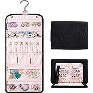 "Travel Hanging Jewelry Organizer With Zippered Pockets - 10.2""L x 7.8""W x 1.2""H Jewelry Bag for..."