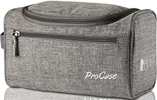 ProCase Toiletry Bag Travel Case with Hanging Hook, Organizer for Accessories, Shampoo, Cosmetic, Personal Items, Healthcare Bag with Handle, Grey