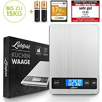Liebfeld - Digitale Küchenwaage bis 15kg aus Edelstahl mit großer Wiegefläche + 2 Batterien I Haushaltswaage digital, Essenswaage