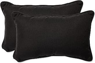 Pillow Perfect Outdoor/Indoor Tweed Rectangular Throw Pillow (Set of 2), Black